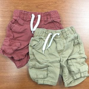 Old Navy Cargo Shorts - Red, Tan - 2T